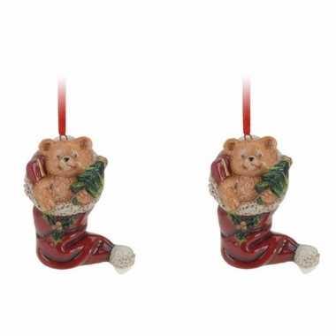 2x kerstornamenten kerstsok met beertje hanger 8 cm