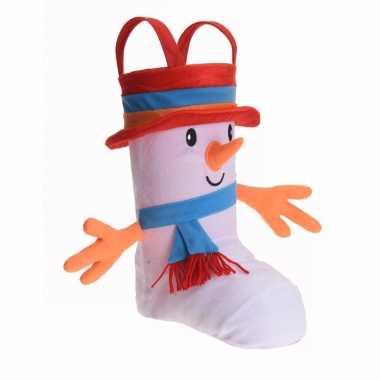 Cadeauzak kerstsok schoen 3d sneeuwpop