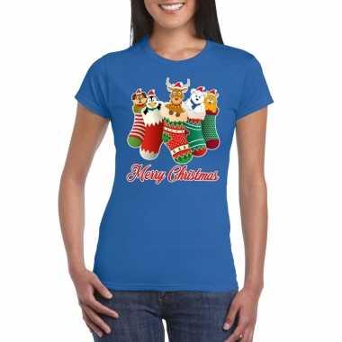Foute kerst t shirt kerstsokken merry christmas blauw voor dames