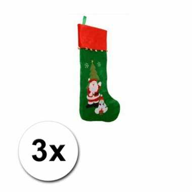 Groene mega kerstsokken 85 cm 3 stuks