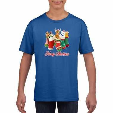 Kerst t shirt merry christmas dieren kerstsokken blauw kids