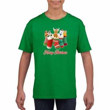 Kerst t shirt merry christmas dieren kerstsokken groen kids