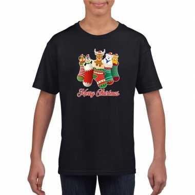 Kerst t shirt merry christmas dieren kerstsokken zwart kids