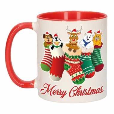 Kerstmis cadeau mok merry christmas kerstsokjes 300 ml