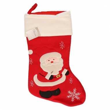 Kerstsok rood met kerstman 45 cm