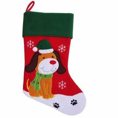 Kerstsok voor de hond 45 cm huisdier kerstsokken