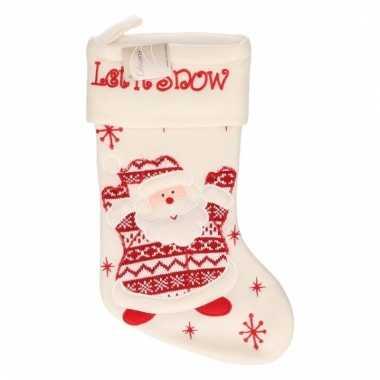Kerstsok wit met kerstman 45 cm
