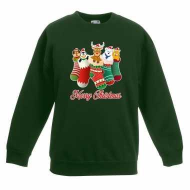 Kersttrui kerstsokken merry christmas groen voor kinderen