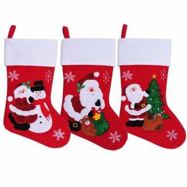Rode kerstsokken met kerstman en sneeuwpop 45 cm