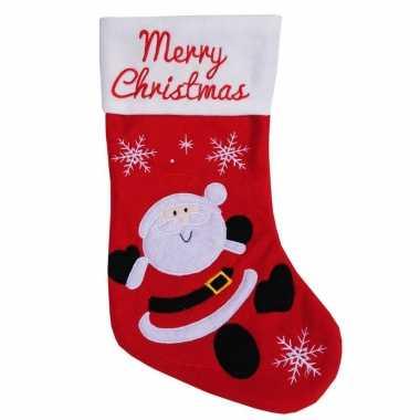 Rood met witte kerstsokken merry christmas met kerstman 45 cm